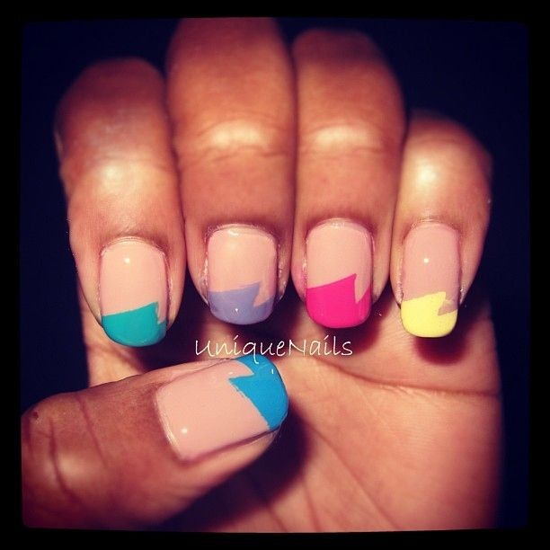 Love this take on an alternative French manicure! #nails #nailart #french