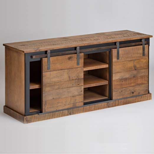 Entertainment console with barn style sliding doors