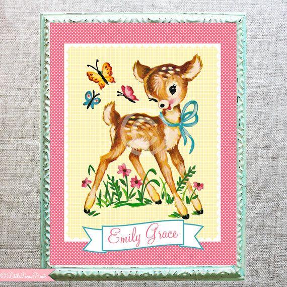 Kitschy Baby Deer Nursery Print- 8x10 Personalized Vintage Style, Kawaii Fawn/Deer Print on Etsy, $20.78 AUD