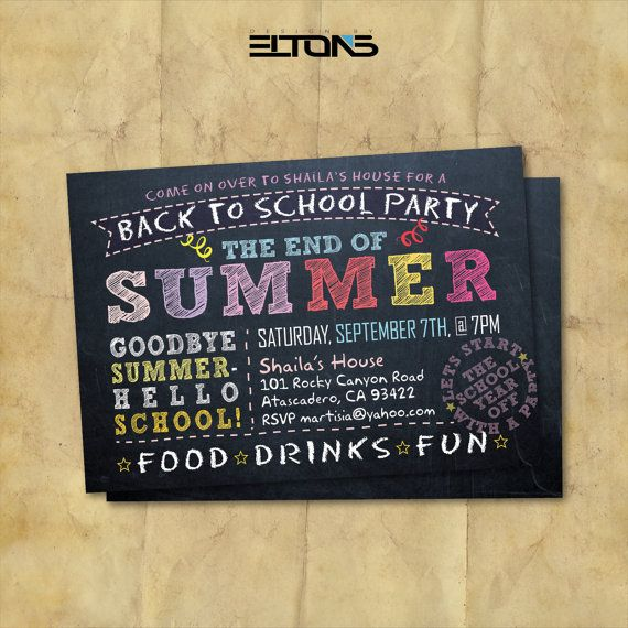 Back to School Party Invitation /  End of Summer / by EltonsLogo, $15.00