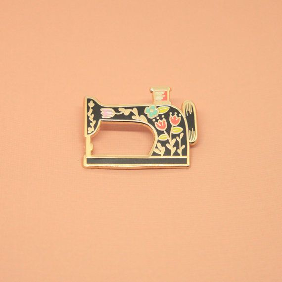 BLACK Vintage-Style Sewing Machine Pin listing by justinegilbuena