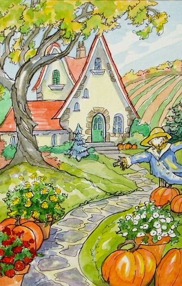 Red Roof Autumn Storybook Cottage Series | by cottagelover1953