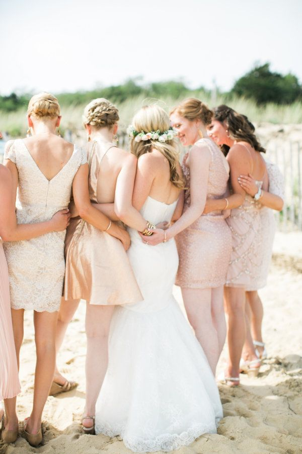 Copper and blush bridesmaid frocks: http://www.stylemepretty.com/2016/04/29/the-quintessential-summer-wedding-youve-only-dreamed/ | Photography: Rebecca Arthurs - http://rebecca-arthurs.com/