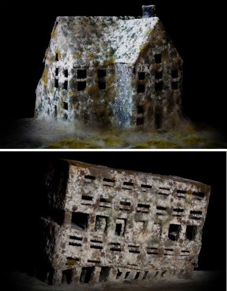 Italian artist Daniele Del Nero painstakingly constructed these architectural scale models out of black paper and covered them with a layer of flour and mold to mimic the effect of deteriorating abandoned buildings.