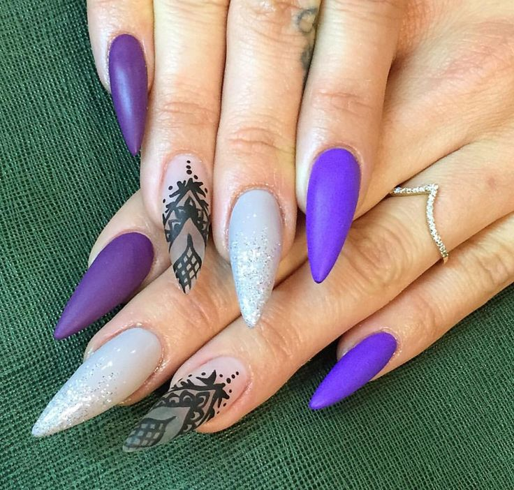 Matte purple, gray with glitter tips and clear nail with ...