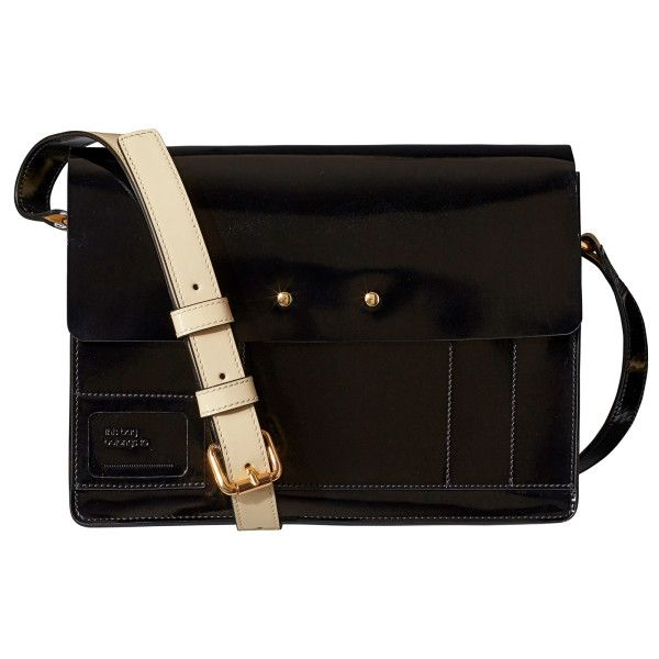Black Patent Leather Agatha Satchel Bag ($315) ❤ liked on Polyvore featuring bags, handbags, orla kiely handbags, crossbody bags, patent leather satchel handbag, crossbody handbags and pocket purse