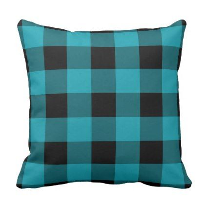 Buffalo Check Plaid Turquoise and Black Rustic Throw Pillow - rustic gifts ideas customize personalize