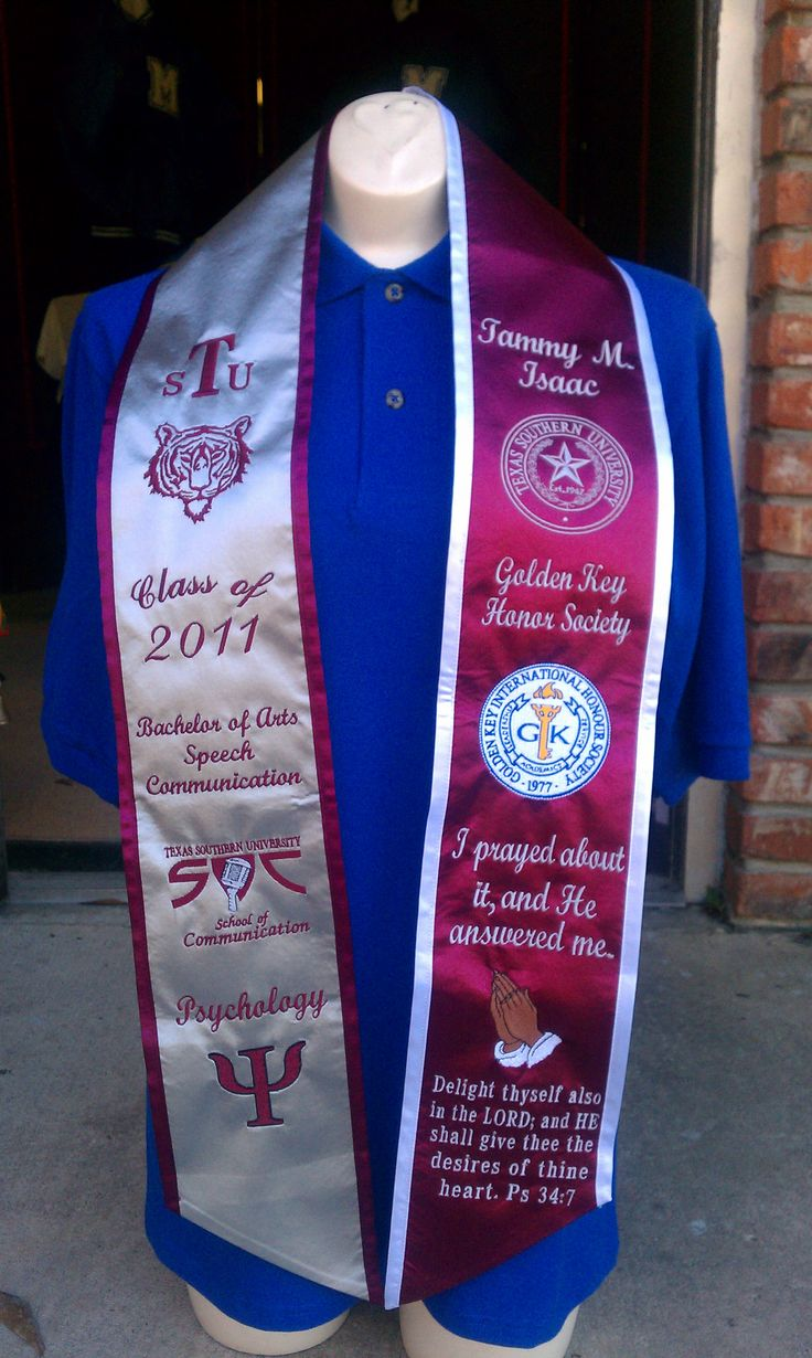 "Graduation stole idea found on ""HBCU Graduation Stoles"" website."