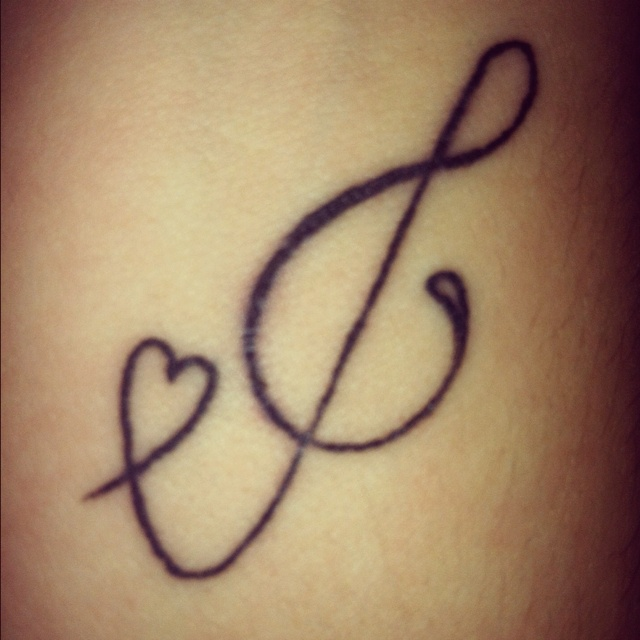Tattoo Quotes Music: Music Tattoo: Treble Clef C Heart