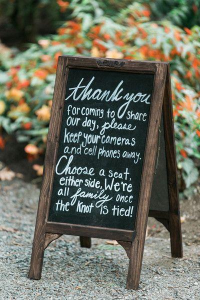 DIY chalkboard wedding sign idea - no cellphones - LOVE THIS! {B. Jones Photography}