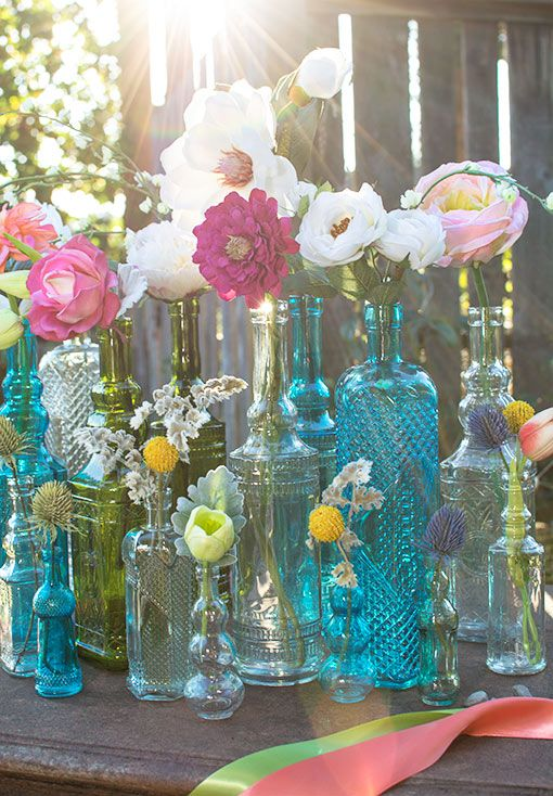Vintage Apothecary Bottles, Round Glass Bud Vases, 5 in, Clear, 6 Pk