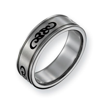 Stainless Steel With Black Rubber Scroll Design 7mm Band Ring - Size 10 - JewelryWeb JewelryWeb. $43.00