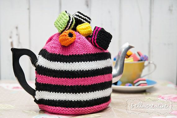 Licorice Allsorts Tea Cosy Fits 4 Cup Tea Pot by creativeaertz, $25.00