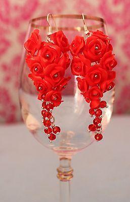 Red Roses Flowers Earrings / Handmade Polymer Clay