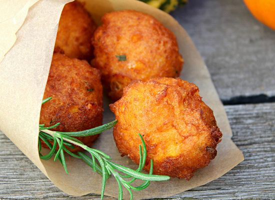 Pumpkin Fritters With Rosemary And Cheese.  I know they're not healthy & right this moment, I don't care.  But people, they're fritters.  With cheese. And rosemary.  Don't they deserve a shot in life?  Or on my table?