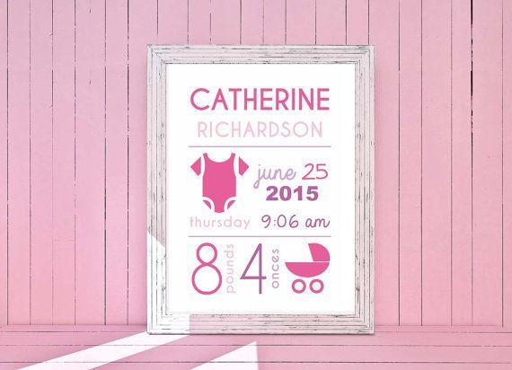 Bambina Annuncio Nascita Personalizzabile: Poster di LiLABgraphic