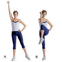 Standing abs exercises - Knee Cross Crunch