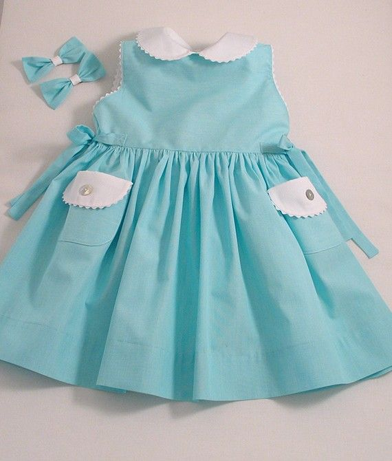 Turquoise Stripe Sleeveless Baby Dress