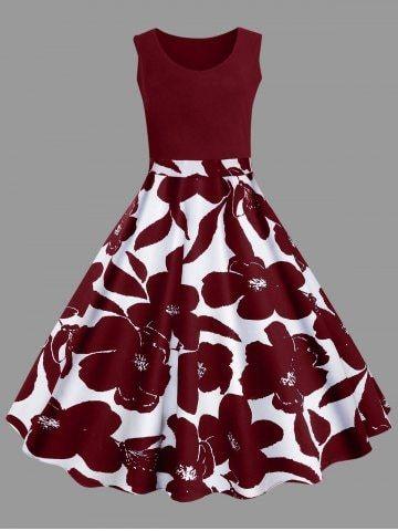 Plus Size Floral Printed Vintage Midi Flare Dress 5