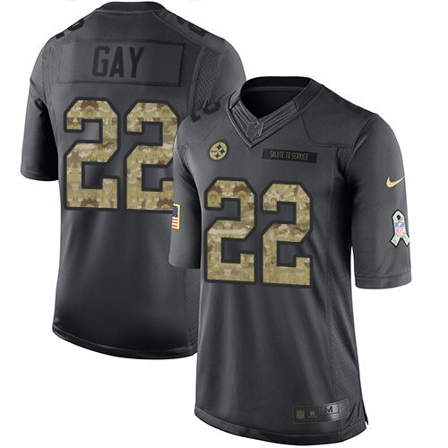 Nike Steelers #22 William Gay Black Men's Stitched NFL Limited 2016 Salute to Service Jersey