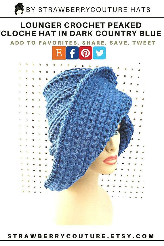 cb3ac489 Crochet Cloche Hat with Peak Brim Peak Crochet Hat Women   beanie ...
