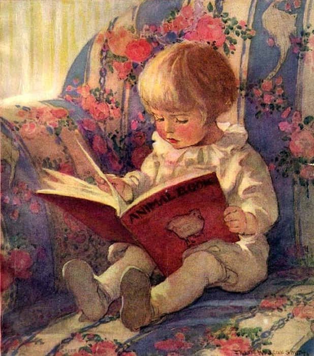 Jessie Willcox Smith   young chld reading orange book in floral overstuffed chair