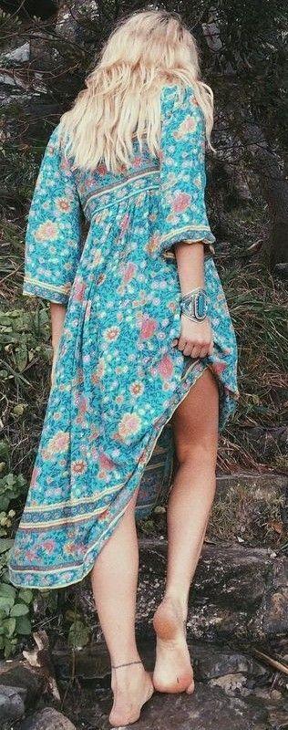 Folk Printed Maxi Boho Dress                                                                             Source