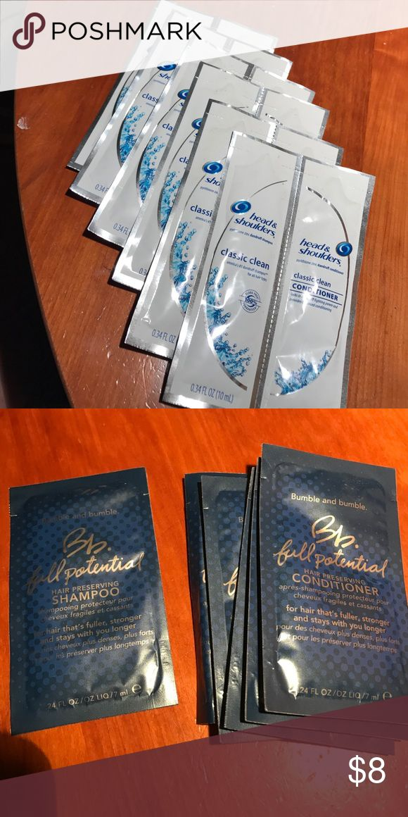 Head and shoulders & bumble and bumble samples Head and shoulders classic clean shampoo & conditioner (6), bumble and humble full potential shampoo (1) & conditioner (5) bumble and bumble Makeup
