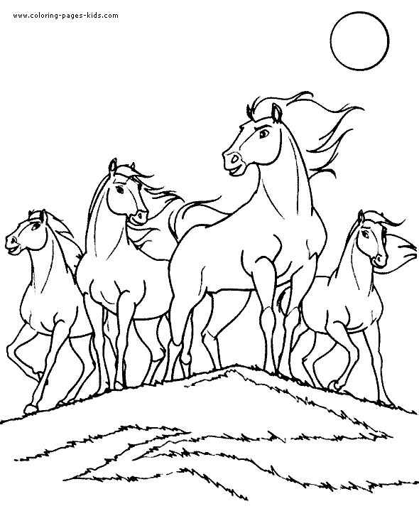four magnificent horses printable coloring page for kids printable coloring sheets with horses kids pages that can be used to create coloring books