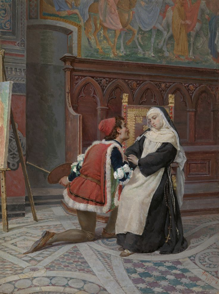 Filippo Lippi Paying Court to Lucrezia Buti. or A Painter and his Model (1879). Pietro Aldi (Italian, 1852-1888). Oil on panel. Glasgow Museums. A painter has fallen to his knees, we suppose, to confess his love to a beautiful young nun. This...