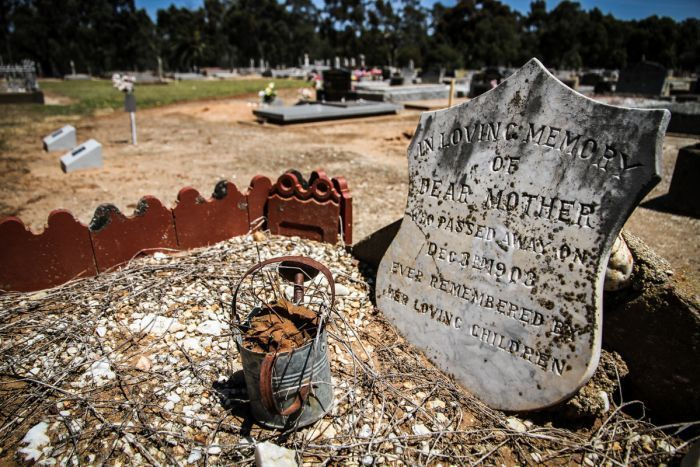 Unmarked grave at Moama Cemetery. The discovery of a historical map leads to naming unmarked graves in a New South Wales cemetery