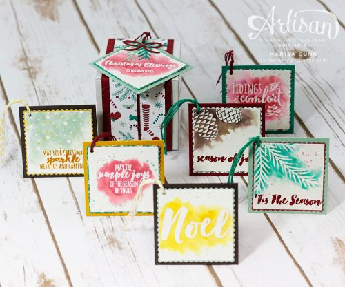 Watercolor gift tags and box featuring the Christmas Pines stamp set from Stampin' Up by Marisa Gunn