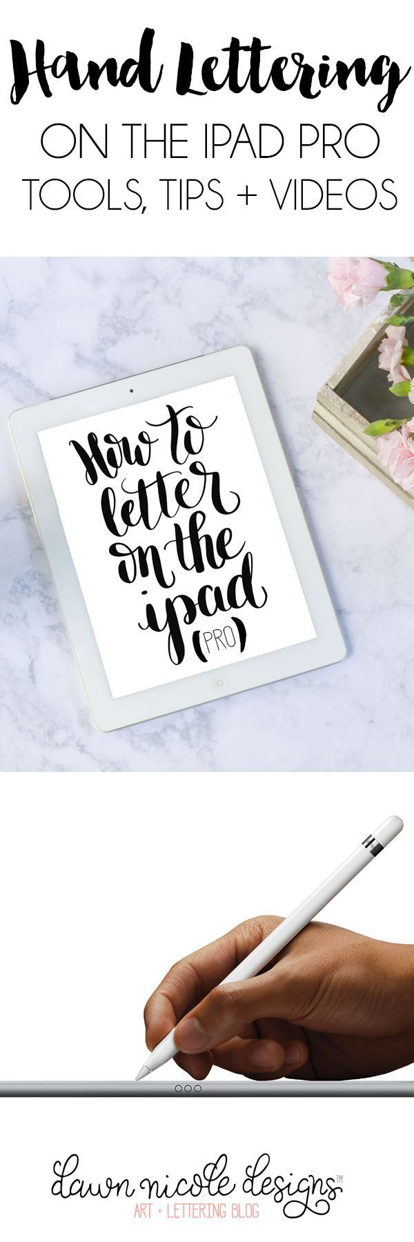 Hand Lettering with the iPad Pro + Apple Pencil. The basic tools, tips, tricks for lettering on the iPad Pro with the Apple Pencil! | dawnnicoledesigns...