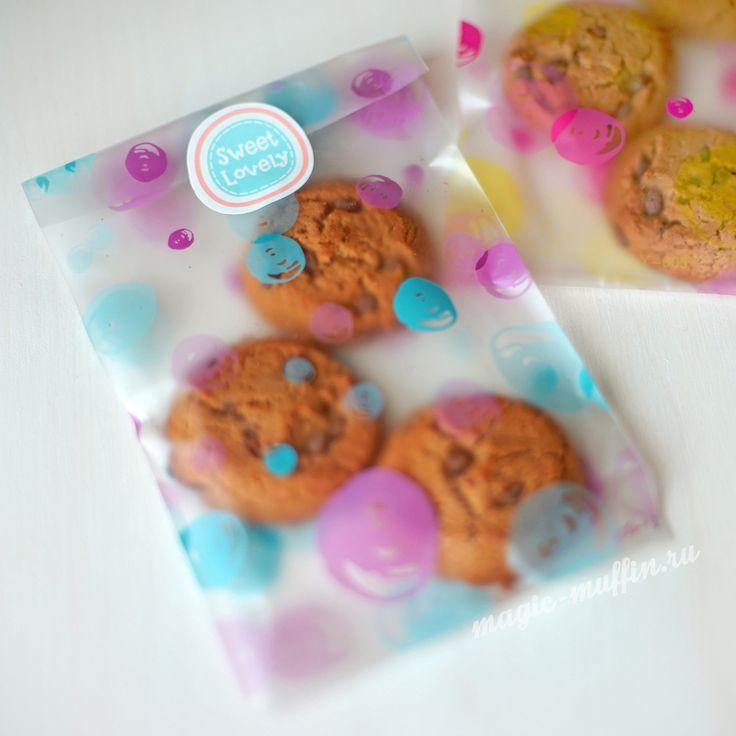 Пакетик: розовые и голубые круги cookies wrapping, cookies bag, cookies box
