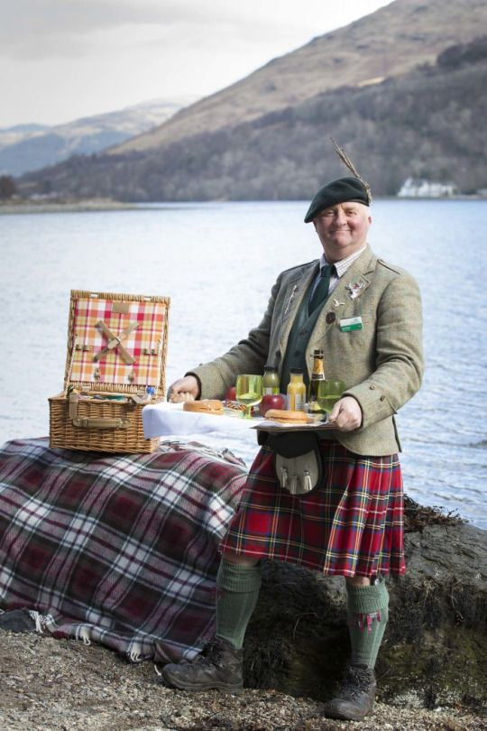 Going for a picnic by the loch then you need to take along your scottish butler.