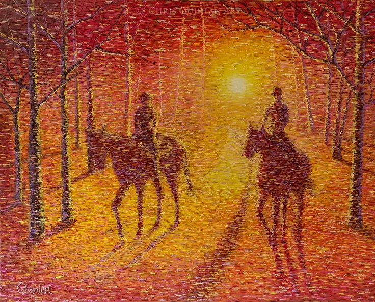 """Impressionist Horses by Chris Quinlan Art 40"""" x 32""""  oil on canvas"""