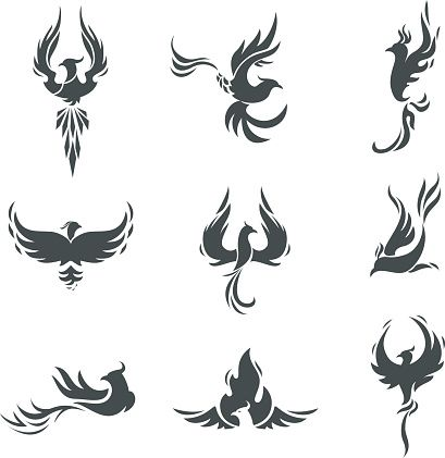 Phoenix bird stylized silhouettes icons on white background. template…
