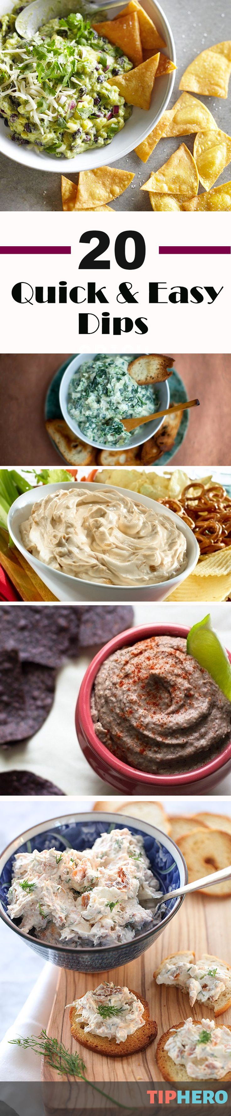 20 Quick and Easy Dips to Make for the Super Bowl | Want to try something new for your Super Bowl party? We've put together a collection of delicious dips that are easy to make and sure to please. Whether you like sweet, spicy or creamy - there's something for everyone! Click for full list.