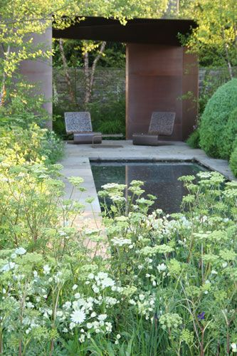 A garden invitation, see how simple it is made, just two chairs is all it takes. Laurent-Perrier Garden, Chelsea 2010