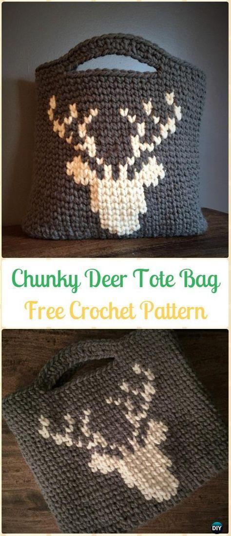 Crochet Chunky Deer Tote Bag Free Pattern - Crochet Handbag Free Patterns Instructions