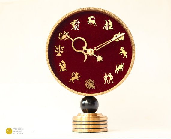 stunning art deco zodiac desk clock brass mid century modern table