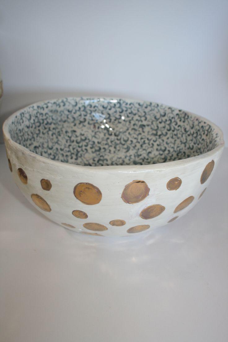 Handmade ceramic bowl gold luster polka dots