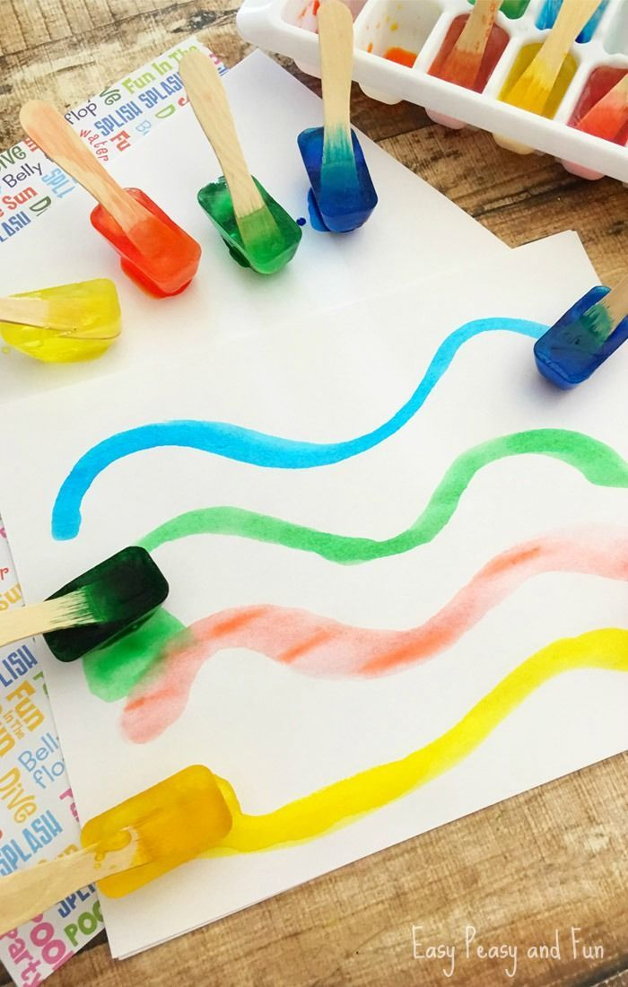 Painting With Ice - Make Your own Ice Paint - Easy Peasy and Fun