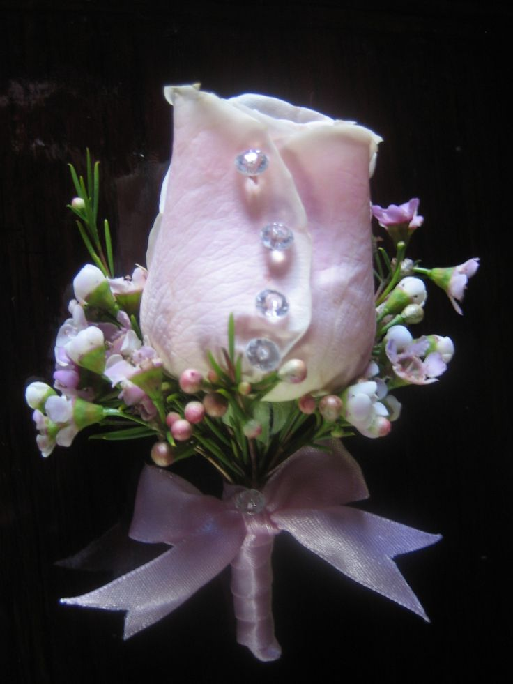 Pink Rose and Waxflower boutineer finished with crystal and satin ribbon #buttonholes #corsages #countryhouseflowers