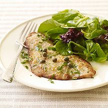 Veal Piccata -- love that green salad -- I use chicken:)