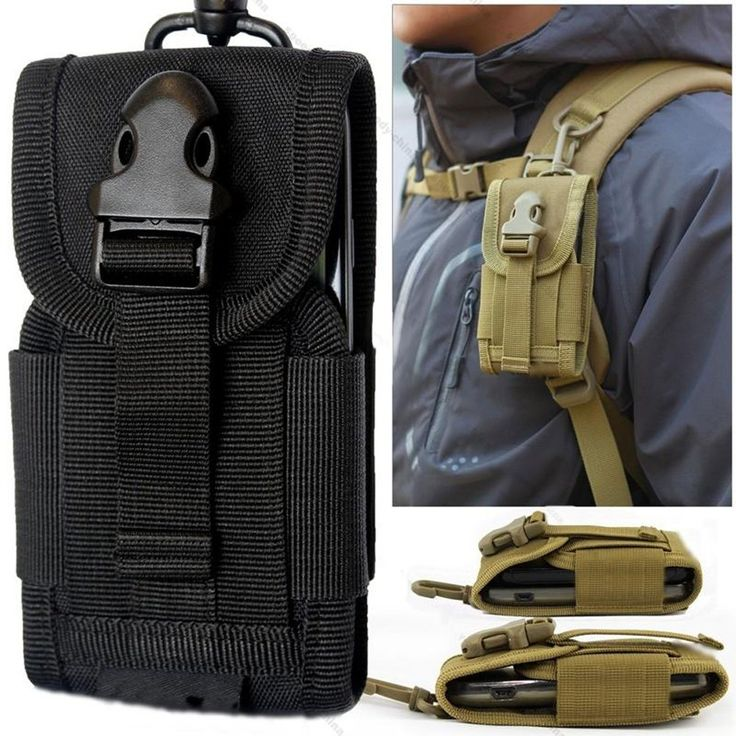 "Molle Pouches,Chinatera Mens Outdoor Hunt Multifunctional Accessories Bag Sundries Bags Key Cell Phone Waist Bag Pouch Case (Black). Pouch is the perfect way to carry your phone(with up to 4""screen),music device,spare battery case,or other small items.It is held safely on your belt even under the most intense combat situations. The pouch is designed to mount horizontally to the user's belt,or vertically to a backpack strap,and features a hook and loop flap to keep everything inside. This..."