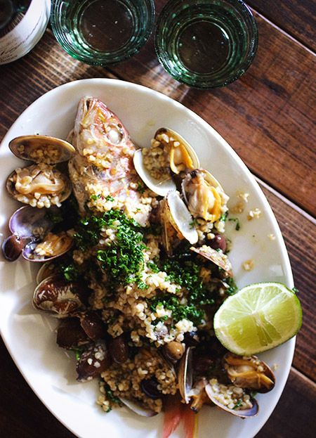 「ブルガー小麦入りアクアパッツァ」:ヒグッチーニ連載:メンズキッチンへようこそ Higucciniの週末もてなしランチ:レシピブログ