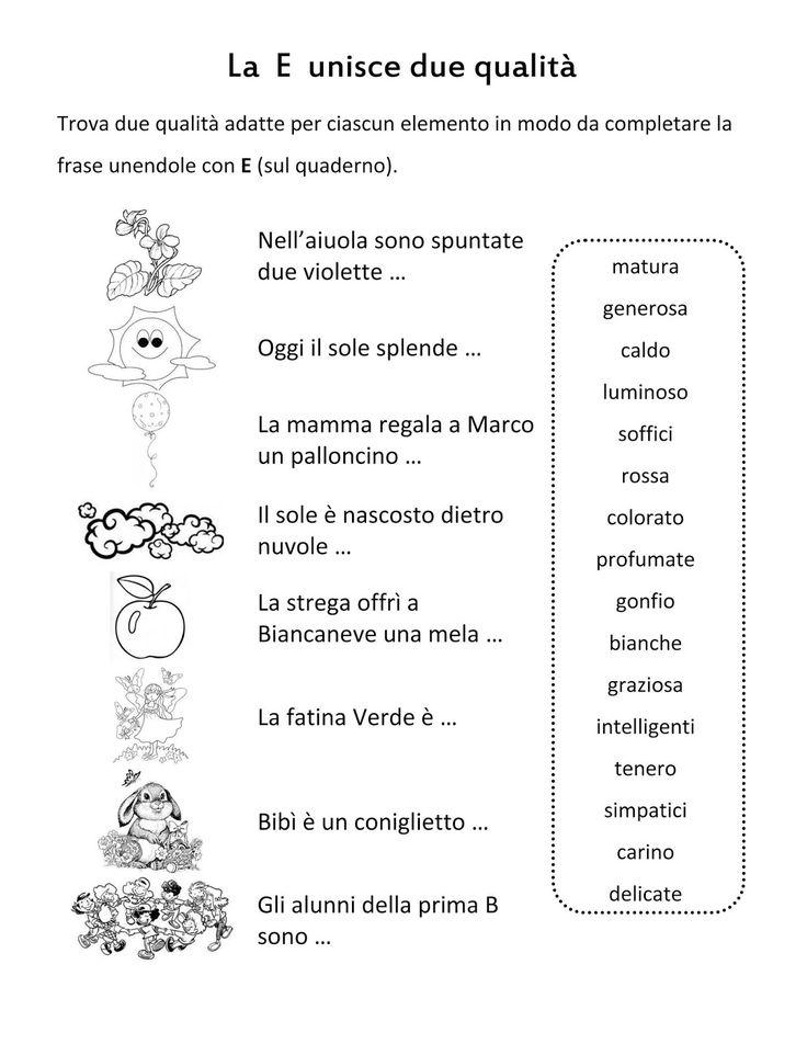 Scuola di pensiero: Schede didattiche: e congiunzione, è verbo.