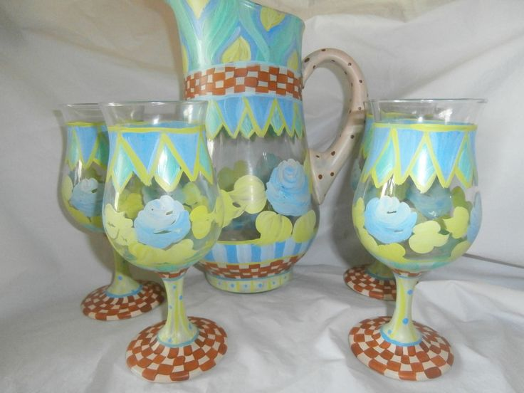 Spring  sangria pitcher and 4 goblet set. Blue/teal roses, stripes,checks,swirls. Gold,teal,blue,green,brown and tan. Hand painted ,, by ArtbySethHouse on Etsy