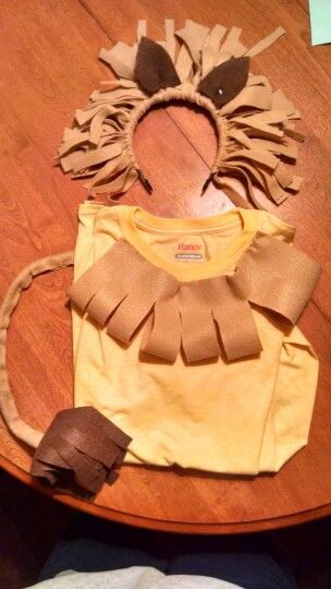 Homemade lion costume...all you need to buy is a t-shirt and felt.